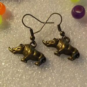 Rhino Earrings - Animal Ear Rings Brass Jewelry